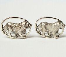 Paar Manschettenknöpfe 14 Karat 585 Gold 20,73 g Weißgold Löwen Löwe Handarbeit