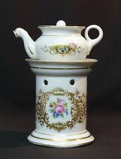 E très belle tisanière ancienne 20cm porcelaine fine de paris décor floral  thé