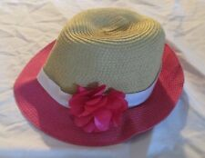 Gymboree Straw-look Hat Girls Size 10-12 L Swim 1 2014 Flower