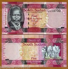 SOUTH SUDAN 5 POUNDS UNC BEAUTIFUL NOTE  # 875