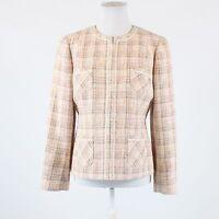 Beige ivory plaid LANDS' END blazer jacket 12P