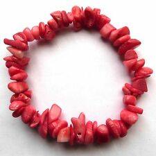 **BEAUTIFUL PINK CORAL CHIP BRACELET**