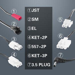 Ni-Cd NiMh Battery Pack USB Charging Cable,Jst/SM/Ket-2P/3P Plug,3.6~9.6V 250mAh