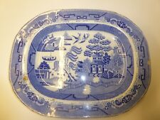 """Vintage Antique Blue Willow 18"""" Meat Plate"""