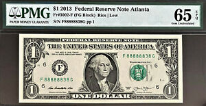 2013 Federal Reserve One Dollar Lucky Near SOLID # 88888838 GEM UNC PMG 65 EPQ