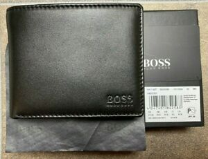 Hugo Boss Mens wallet Arezzo  Black Trifold Leather Coin Pocket Perfect Gift