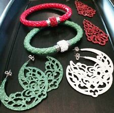 Hoop Dangle Earring 5 pc lot Christmas Red Green Silver Crystal Leather Bracelet