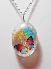 Diorama style 40mm glass pendant, flowers, Butterfly  - 20'' chain