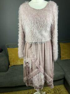 Made In Italy Tie Dye Plum Arty Boho Dress & Crop Fluffy Jumper Top Uk 10 /12 A2