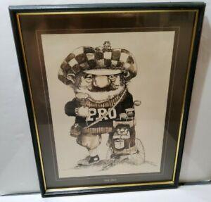 "Gary Patterson ""The Pro"" Golf Print Framed 17x20 Sepia 1970s Artwork"
