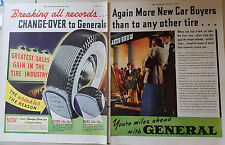 1939 Vintage General Tires More New Car Buyers Two Page Original Color Ad