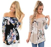 Ladies Black Blue Floral off shoulder criss cross summer top shirt 10 12 14 16 1