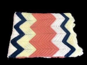 Hand Crochet Throw Blanket Chevron Pattern Blue Pink White Cream Knit