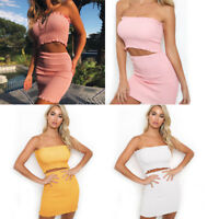 Womens Summer Sexy Crop top Mini Skirt Co Ordinate Set Two Piece Set