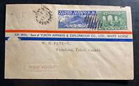 1928 Canada Airmail First Flight Cover FFC To Whitehorse Yukon Airways