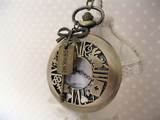 """Alice in Wonderland""Large Antique Bronze Drink Me Pocket Chain Watch Necklace"