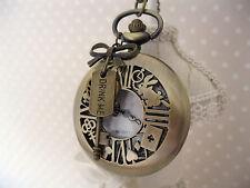 """Alice in Wonderland""Large Antique Bronze Drink Me Pocket Chain Watch Necklace"