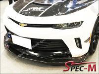 R1 CF 16-18 Camaro SS V8 Carbon Fiber Front Bumper Extend Chin Lip w/ Wiglets