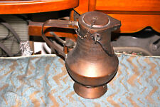 Antique Middle Eastern Arabic Hammered Copper Water Pitcher W/Lid-Primitive