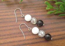Yin And Yang Symbol With Round White Alabaster & Black Onyx Gemstone Earrings