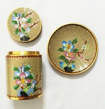 Beautiful Chinese Cloisonne Tea Can w/ Lid and Matching Plate Vintage Brand New