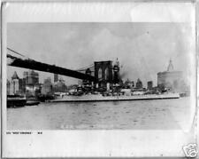 WWII Navy Print USS W Virginia under Brooklyn Bridge,NY