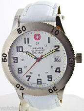 Wenger Swiss Military Men's 72965b White Dial Leather Bracelet Military Watch
