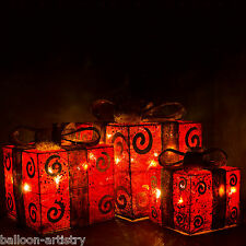 Set Of 3 Red Gold Christmas Xmas Presents Gifts Parcels LED Light Up Decoration