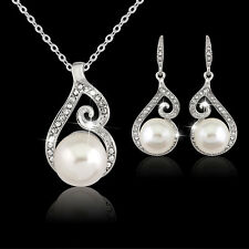 Elegant Silver Plated Rhinestone Pearl Necklace Earrings Prom Party Jewelry Set