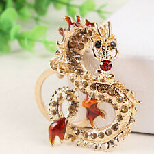 Long Chinese Dragon Crystal Pendent Charm Purse Bag Key Chain Ring Creative Gift
