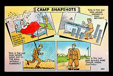 Comic Military Wwii Mh3 Army Camp Snapshots Linen Postcard Used from Camp Lee