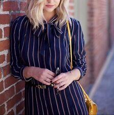 NWT Frame Le Bow Tie Stripe Silk Shirt Dress Navy Vintage Stripe Size S $338
