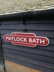 MATLOCK BATH totem enamel sign British Rail railway full flange MATLOCK station