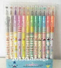 12PCS Mini Monster Crystal Color Pens Rollerball/Gel Ink Pens-12 Colors,0.38mm