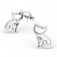 Sterling  Silver Cat Ear Studs with Cubic Zirconia