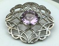 Vintage Style Pin Scotland Lavender Glass Celtic Pattern Large Kilt Pin