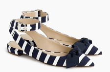 $168 J.Crew Ankle-strap pointed-toe flats in stripe-H9774-navy white-various szs
