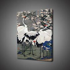 PEACH BLOSSOMS RED CROWNED CRANE CANVAS PRINT PICTURE CHINESE WALL ART DECOR
