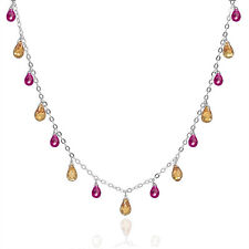 Sterling Silver Necklace with CZ Teardrop Briolette Champagne Ruby Red #90025