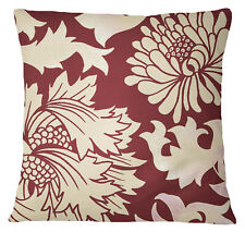 S4Sassy Home Decorative Floral Printed Square Maroon Cushion Case-NFx
