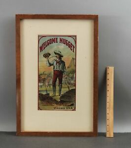 Antique T.C.WILLIAMS Tobacco Lithograph Advertisement WELCOME NUGGET Gold Miner