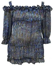 Womens Sexy Sheer Gypsy Strap Tunic Top Blues Silver Tinsel New Womens UK
