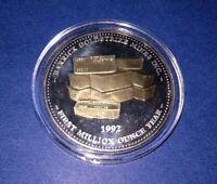 🍁 1992 - 999 FINE SILVER COIN BARRICK GOLDSTRIKE MINES 24kt Gold Gilded ART Bar
