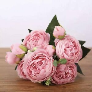 Artificial Silk David Austin Rose Mix Flower Bouquet Bunch - Pink