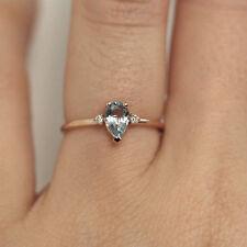 Aquamarine Ring / Aquamarine Two Diamonds Ring / Birthstone Ring / Pear Shape