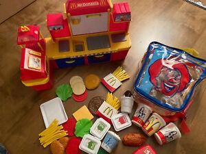 2004 McDonald's Play Drive Thru Red Walkie Talkie, Barbie Playset, Food, Bag