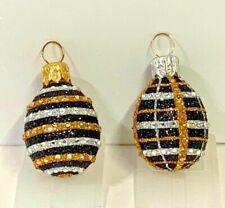 Patricia Breen 2 Mini Eggs Black Striped & Plaid Jewels 2004 Xmas Tree #2451