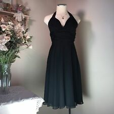 WHITE HOUSE BLACK MARKET Women's BLACK Padded HALTER DRESS Chiffon SZ 0 NWOT