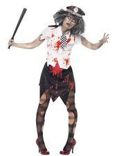 Ladies Zombie Police Woman Officer Womens Cop Halloween Fancy Dress Costume Med