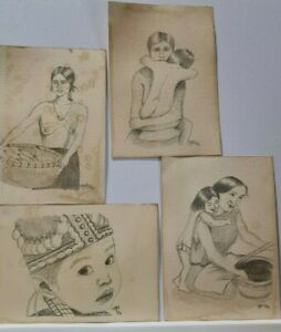 Original Hand Drawn Art Sketch Drawing by Artist A4 - VINTAGE STYLE ETHNIC Signe